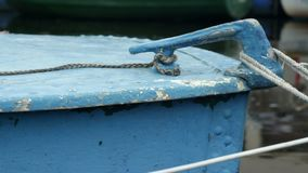 Old boat at the pier. Moored camera motion, close to stock video footage