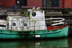Old boat in the port near the town. In Lithuania Stock Images