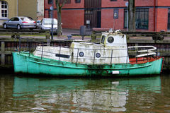 Old boat in the port near the town. In Lithuania Royalty Free Stock Image