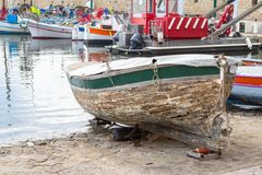 Old boat in the port. Old wooden boat in Saint Tropez, France Stock Photo