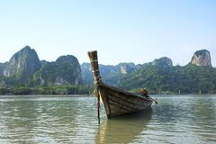 Old boat on Railay beach Royalty Free Stock Photos