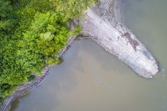Old boat ramp on Missouri River - aerial view Royalty Free Stock Photos