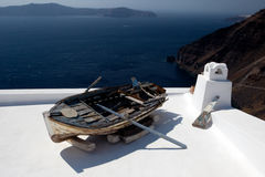 Old boat on a roof Stock Image