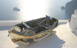 Old boat on rooftop at Santorini, Greece Royalty Free Stock Image