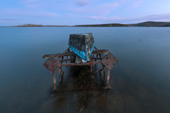 Old boat on a rusty iron frame Stock Photography