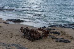 An old boat`s diesel engine abandoned at the beach, Big Island, Hawaii stock photography