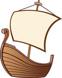 Old Boat with a Sail. Cartoon old Boat with a Sail stock illustration