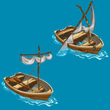 Old boat with sailboat on water in cartoon style Stock Image