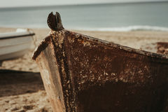 Old boat on the sand of the beach Stock Images