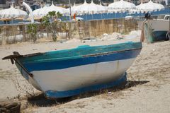 Old boat on the sand royalty free stock images