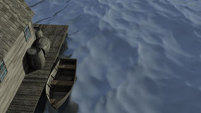 Old Boat Scene. 3D illustration of a boat dock with a row boat Royalty Free Stock Images