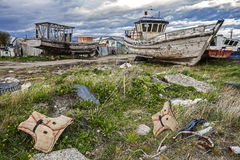 Old Boat Scrap Yard Stock Photography