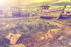 Old Boat Scrap Yard vintage style Stock Photos