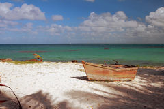 Old boat on sea coast. Isla Saona, La Romana, Dominican Republic Royalty Free Stock Photos