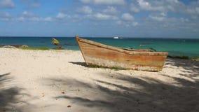 Old boat on seashore. Isla Saona, La Romana, Dominican Republic stock video footage