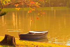 Old boat on the shore at sunset Royalty Free Stock Photography