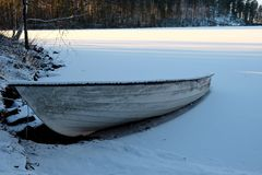 Old boat in the snow. Stock Photography