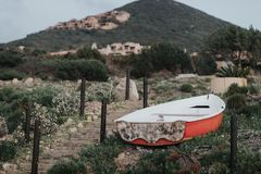 Old boat standing in the middle of nowhere, probabli abandoned stock image