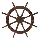 Old boat steering wheel isolated on white background. Stock Photo