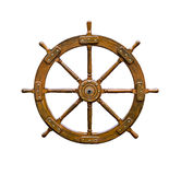 Old boat steering wheel on white Royalty Free Stock Photo