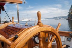Old boat steering wheel from wood Stock Photography