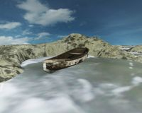 Old boat stranded, 3D CG Stock Photography