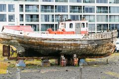 Old boat on street in Reykjavik city Royalty Free Stock Photography