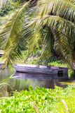 Old boat under a palm tree on the lake Royalty Free Stock Photography