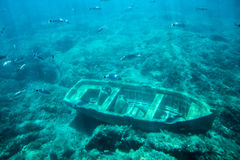 Under water. Boat on bottom of sea. Treasure hunt, diving, view of submarine Stock Photo