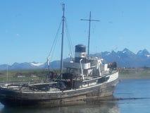 Old boat ushuaia. Saint Christopher bahia Royalty Free Stock Photography