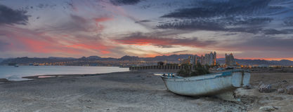 Old boat on a wild beach of the Red Sea Royalty Free Stock Photography
