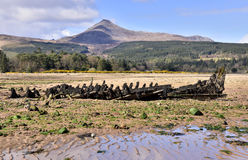 Old boat wreck. Wreck of old boat at low tide, Brodick Bay, Isle of Arran, Scotland, with the hill of Goat Fell behind stock photo
