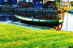 Old boat in Zaanse Schans, Holland stock image
