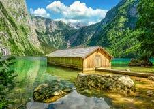 Old Boathouse, Obersee Lake, Berchtesgaden. Boathouse on Lake Obersee, near Konigssee lake, Bavaria Stock Photos
