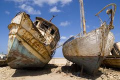Old Boats. Boats graveyard in Jaffa arbor Stock Photo