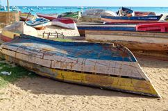 Old boats on the beach. Of Sal, the island of Cape Verde royalty free stock photo