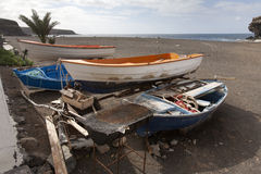 Old boats on the beach Royalty Free Stock Image