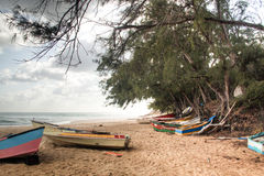 Old boats on the beach of Tofo. Old rowing boats on the beach of Praia do Tofo in Inhambane, Mozambique Royalty Free Stock Image