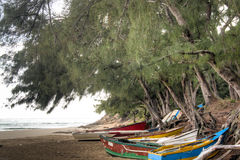 Old boats on the beach of Tofo Royalty Free Stock Images