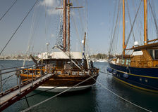 Old boats on dock. In athens greece Stock Images