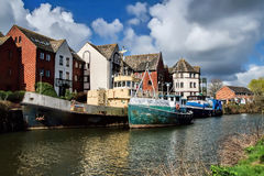 Old Boats At Exeter. Old and rusted boats along the River Exe at Exeter, Devon Royalty Free Stock Photos