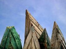 Old boats like mountain peaks stock photo