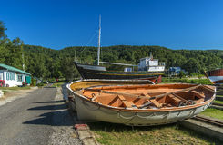 Old Boats. Located at the old Saint-Joseph-de-la-Rive shipyard, the Musée maritime de Charlevoix preserves and recounts Charlevoix's maritime history through Royalty Free Stock Images