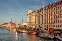 Old boats in Nyhavn in Copenhagen Stock Photo