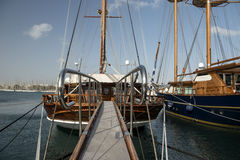 Old boats. With open bridge Royalty Free Stock Photography