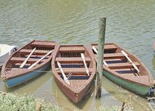 Old boats at the pier. stock photography
