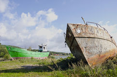 Old boats on the sea coast Stock Photography