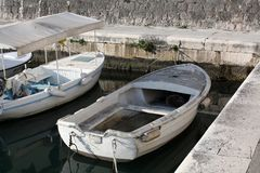 Old Boats on the seacoast. Adriatic in Croatia Royalty Free Stock Image