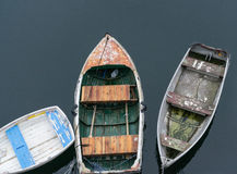 Three boats tied to the dock Royalty Free Stock Photography