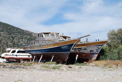 Old boats. Under repair and renovation stock photos